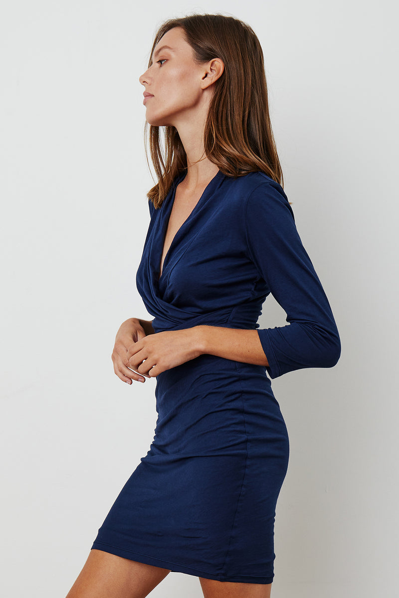 ROZA GAUZY WHISPER 3/4 SLEEVE WRAP DRESS