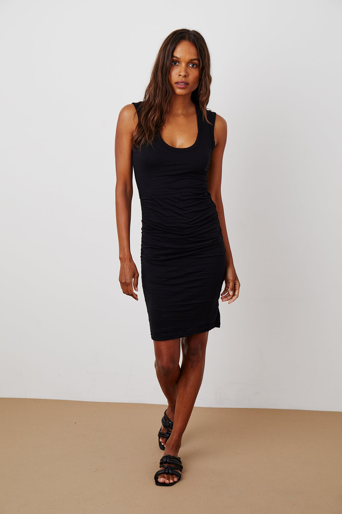 VARELLA SHIRRED MINI DRESS