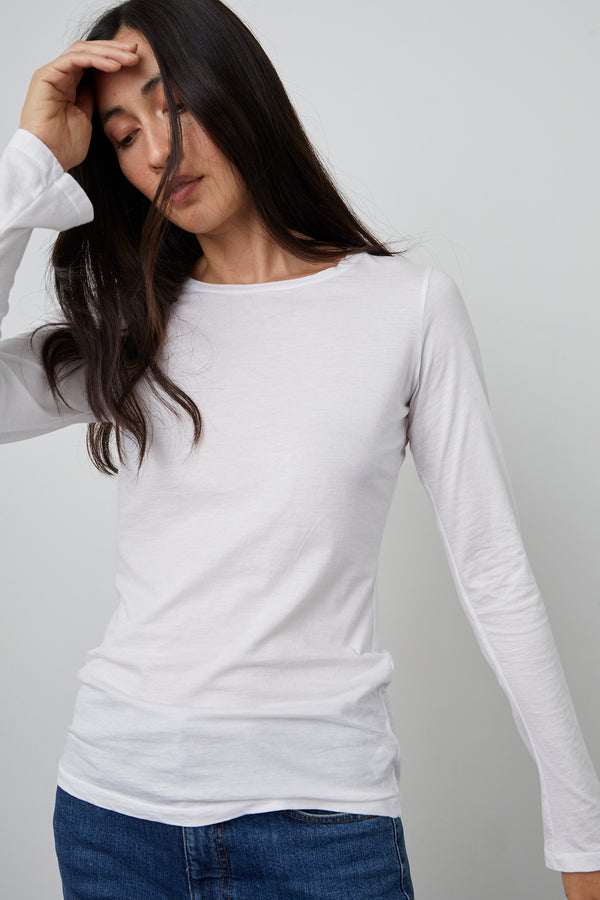 ZOFINA GAUZY WHISPER FITTED CREW NECK TEE
