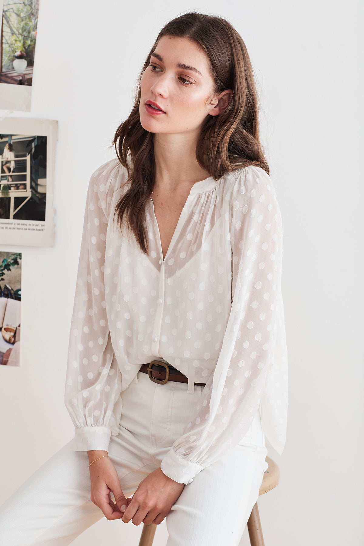 HELGA GEORGETTE SWISS DOT BLOUSE