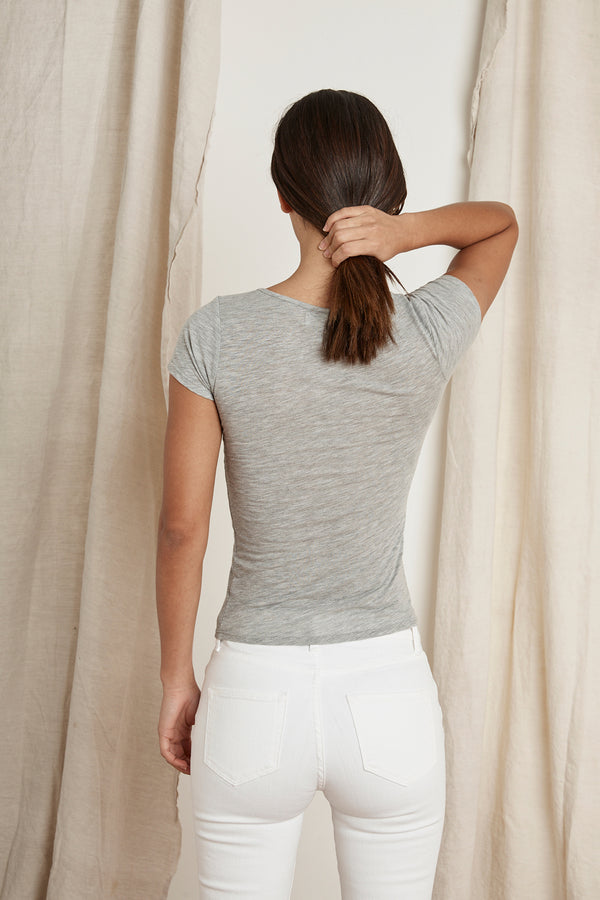BOBBIE LIGHT HEATHER GREY CINCHED V-NECK TEE