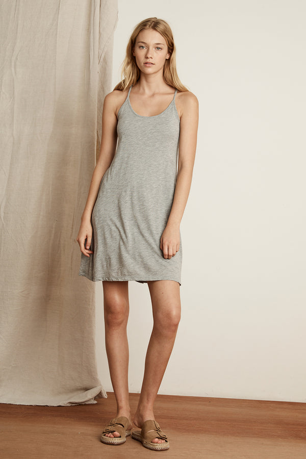 DELISSA GAUZY WHISPER RACERBACK MINI DRESS
