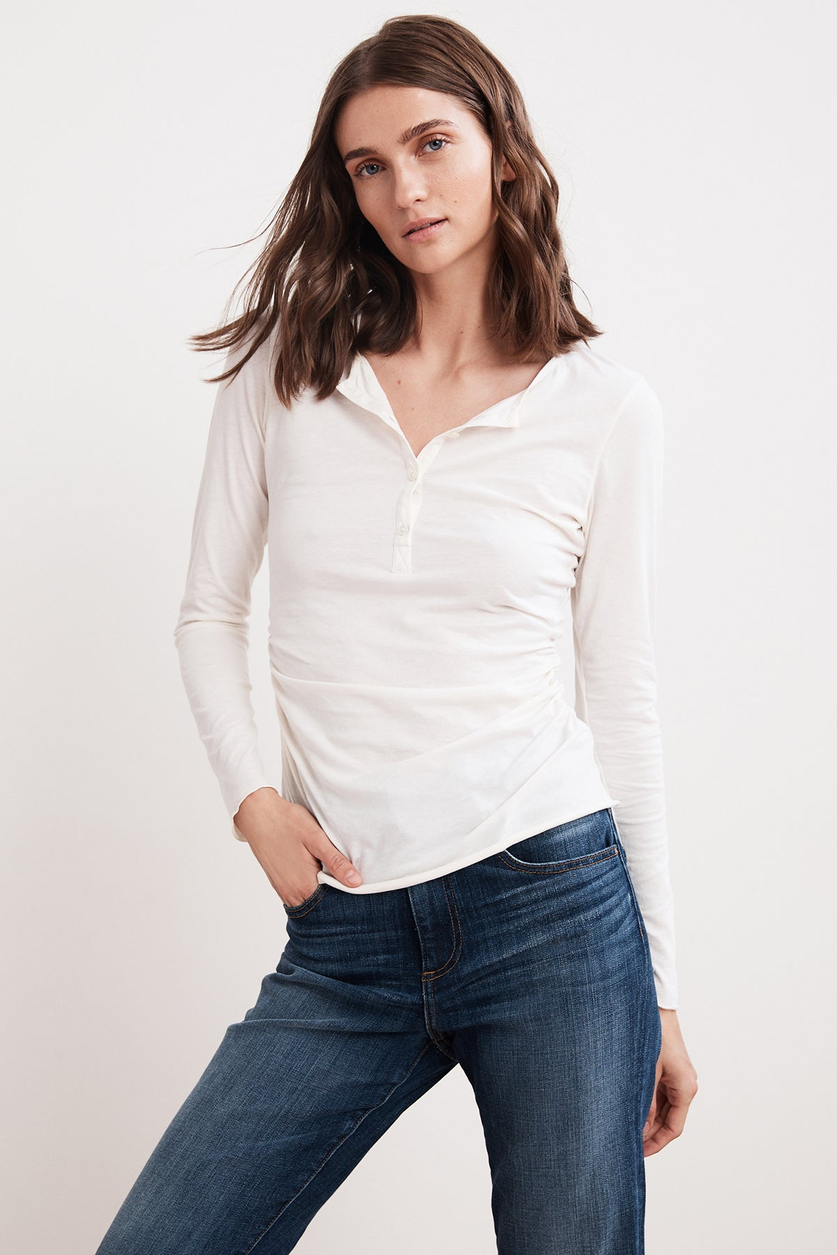 FAN GAUZY WHISPER LONG SLEEVE HENLEY TEE
