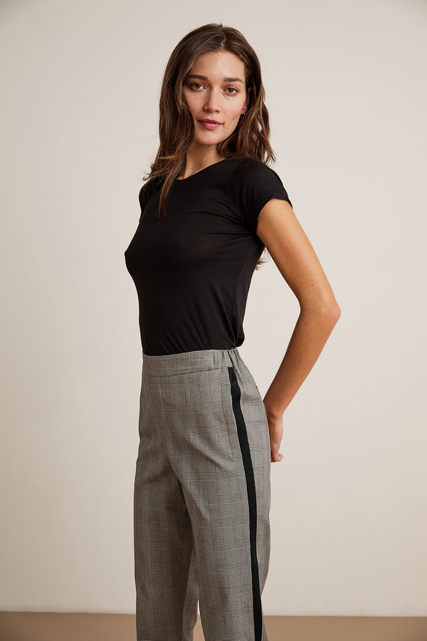 ADELA SIDE STRIPE PLAID PANT