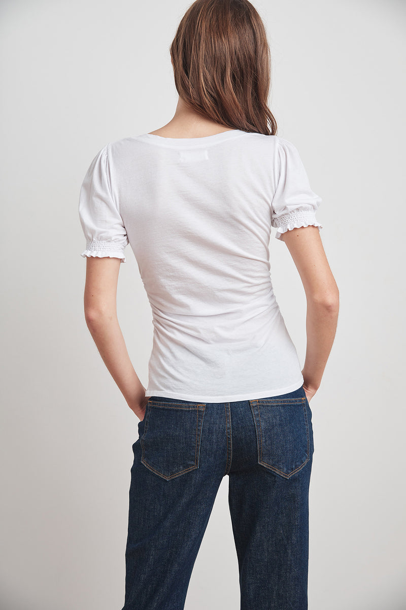 KAMI GAUZY WHISPER SHIRRED SLEEVE TOP
