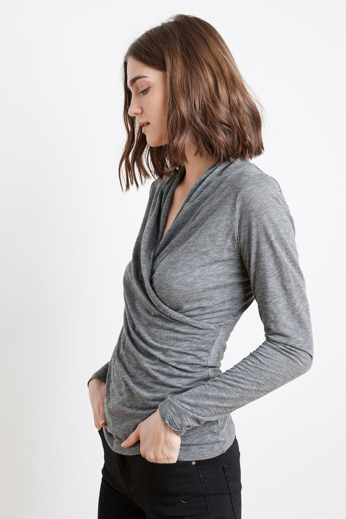 MERI CHARCOAL GREY WRAP FRONT TOP