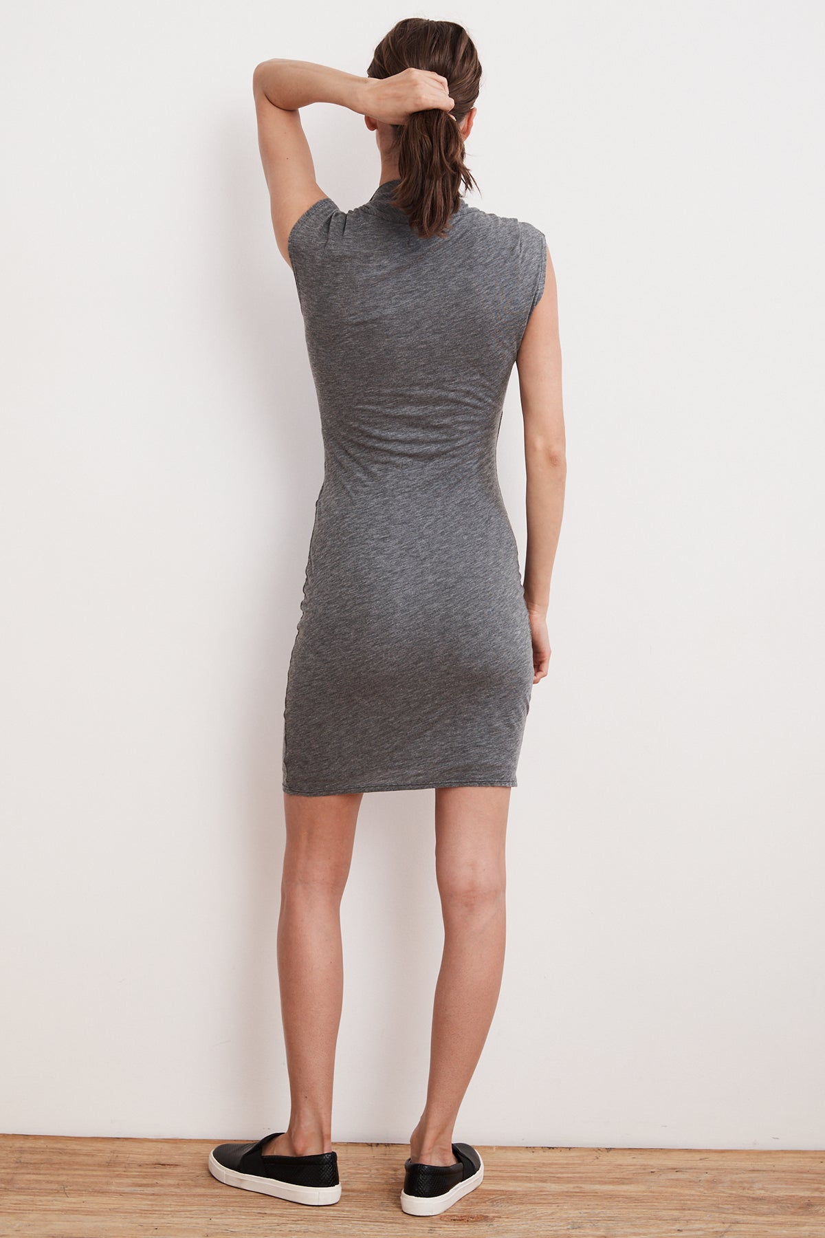 OMEGA GAUZY WHISPER FITTED WRAP DRESS