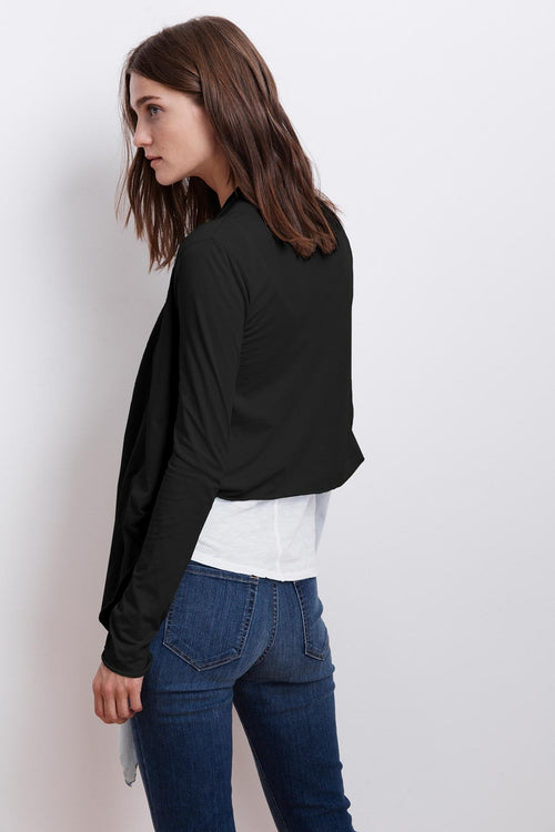 PAVLA GAUZY WHISPER RAW EDGE CARDIGAN