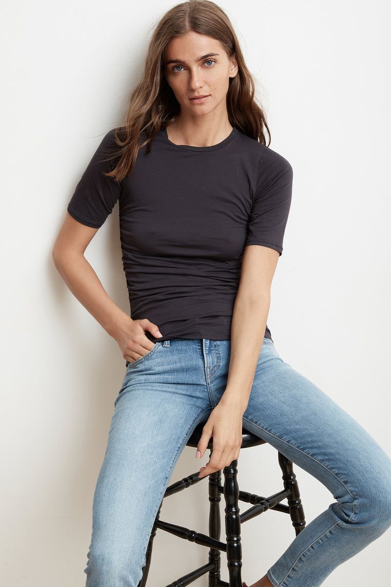 RACHAEL FITTED GAUZY WHISPER SHIRRED TEE