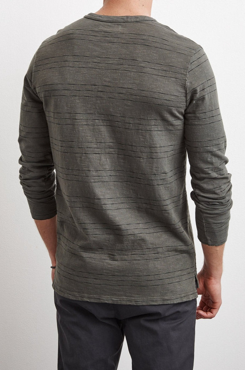 KAGE STRIPE TEXTURED COTTON HENLEY