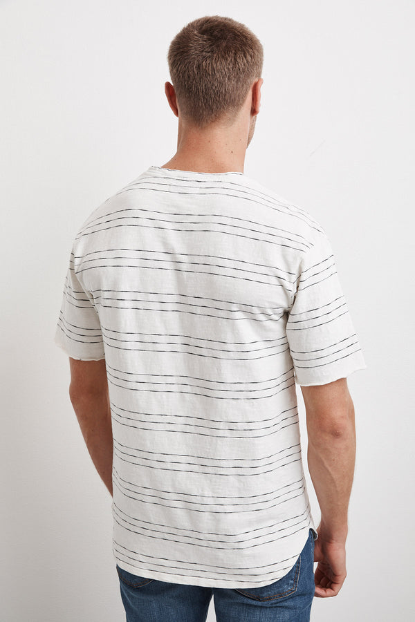 LENNY STRIPE TEXTURED COTTON TEE