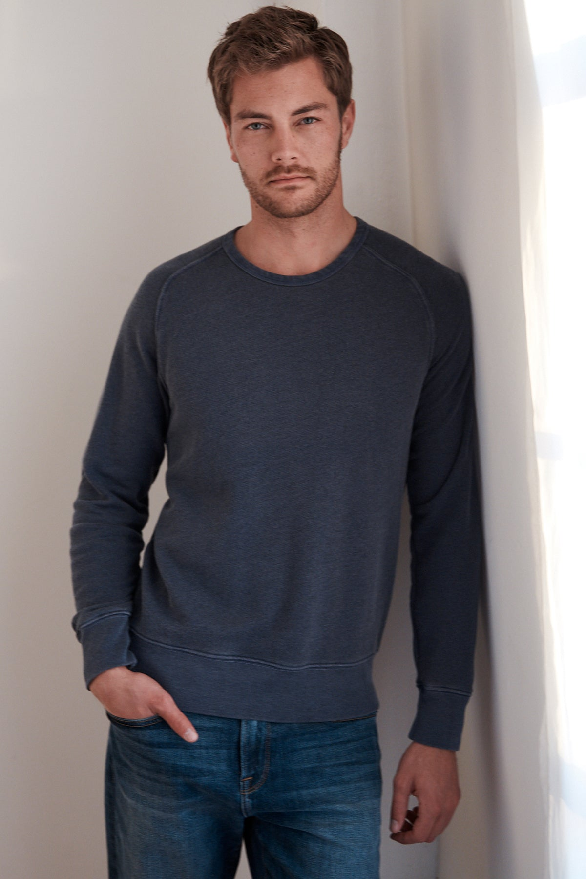 VERN HEATHERED TERRY RAGLAN PULLOVER