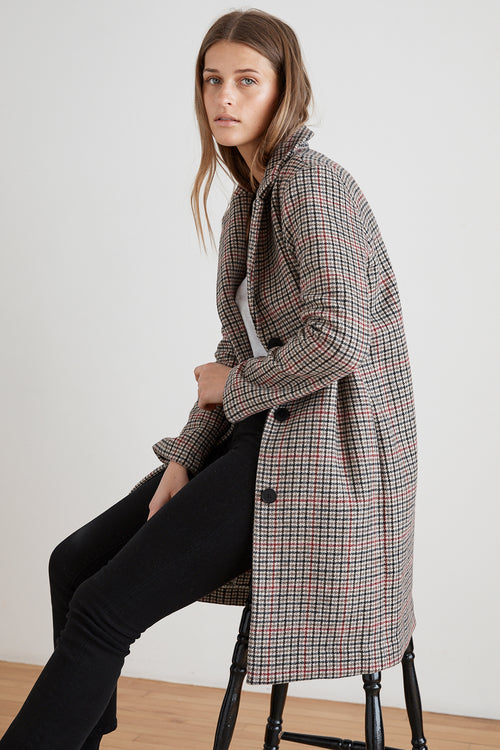 GRAHAM HOUNDSTOOTH LONG COAT