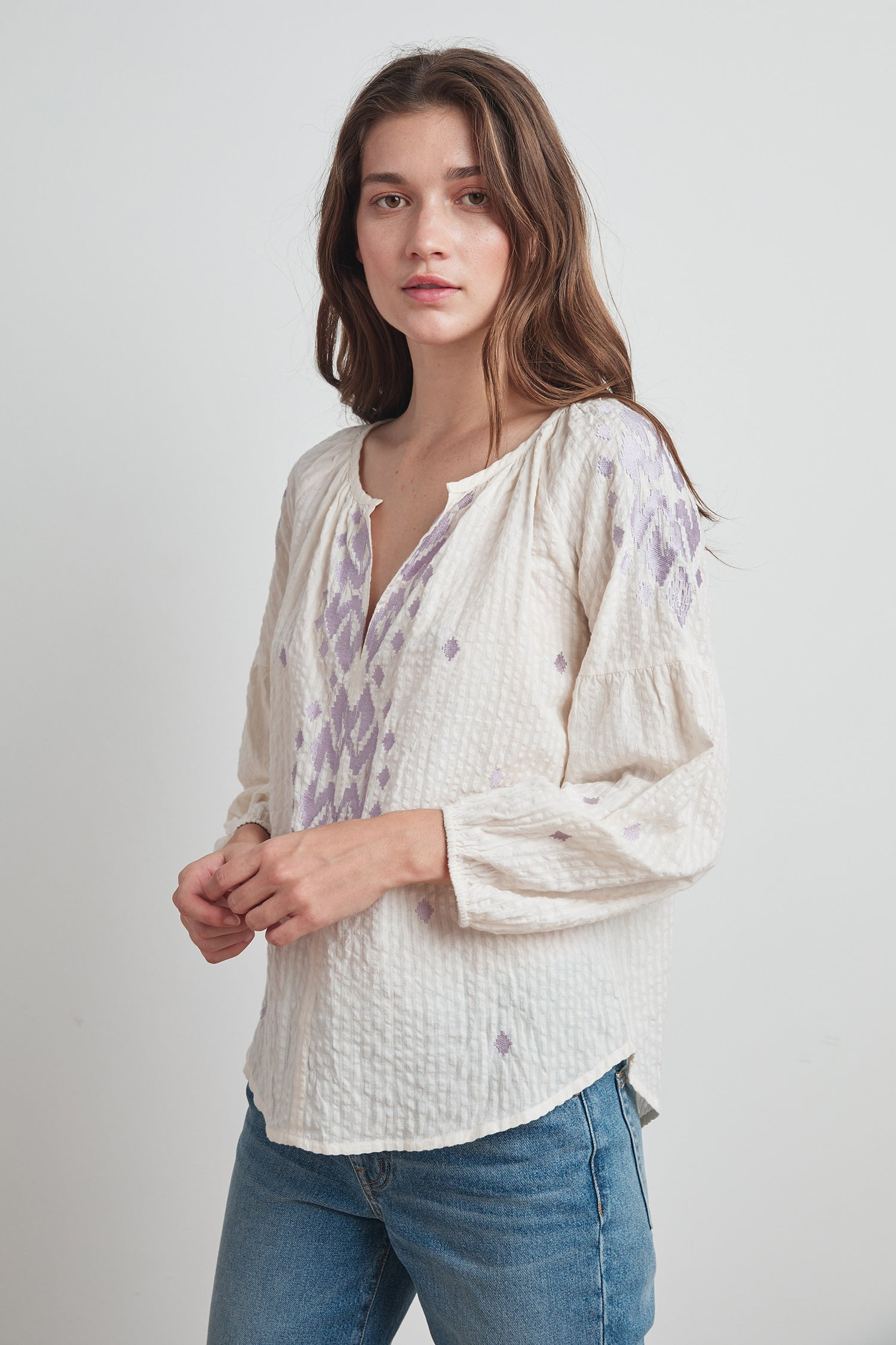 KLARA IKAT EMBROIDERED BLOUSE