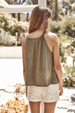 TAWNA COTTON GAUZE V-NECK TANK