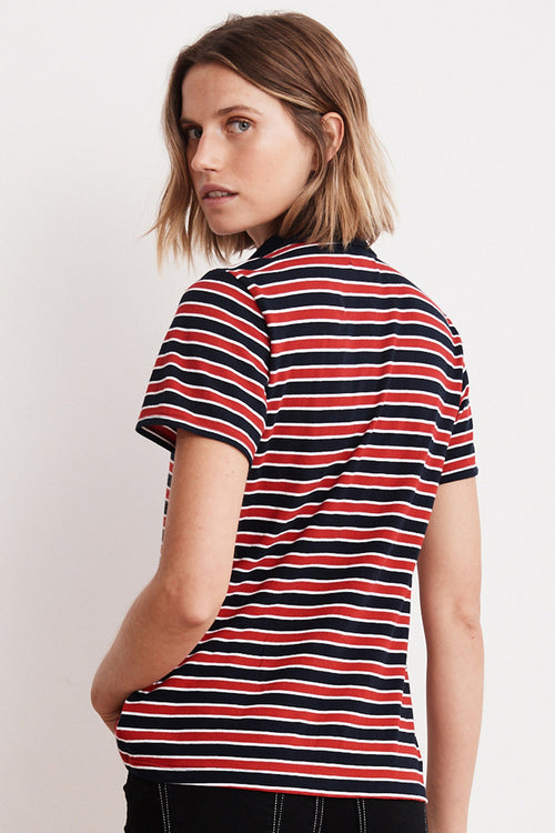 ADELLA KNIT STRIPE POLO SHIRT