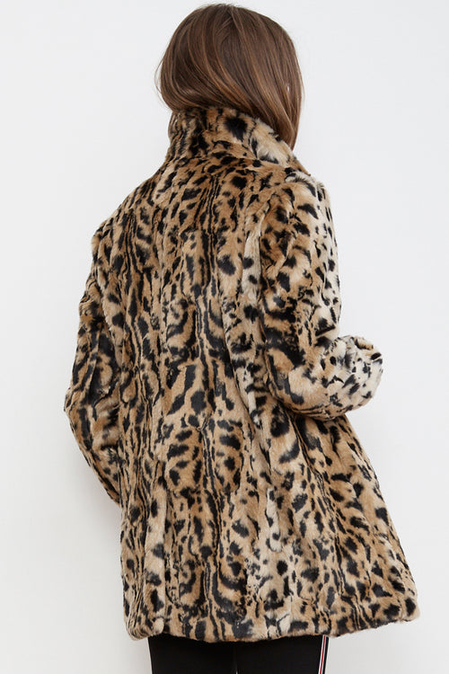 JULIANA LEOPARD FAUX FUR COAT