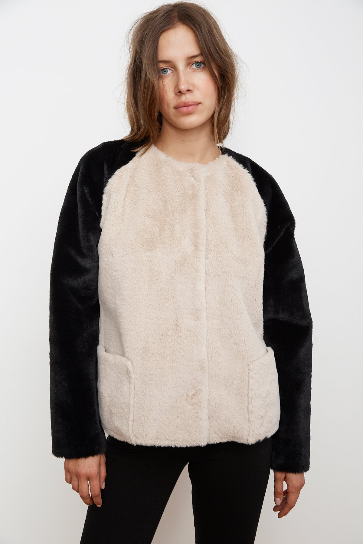 RAY COLORBLOCK FAUX FUR JACKET