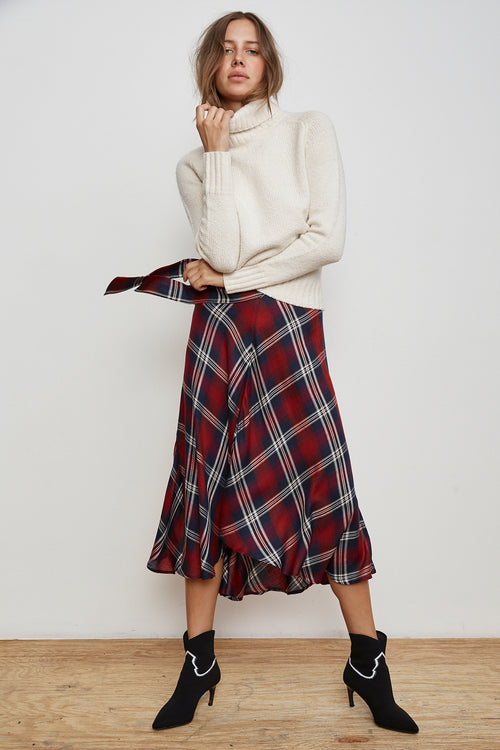 CALLEN PLAID HIGH/LOW SKIRT