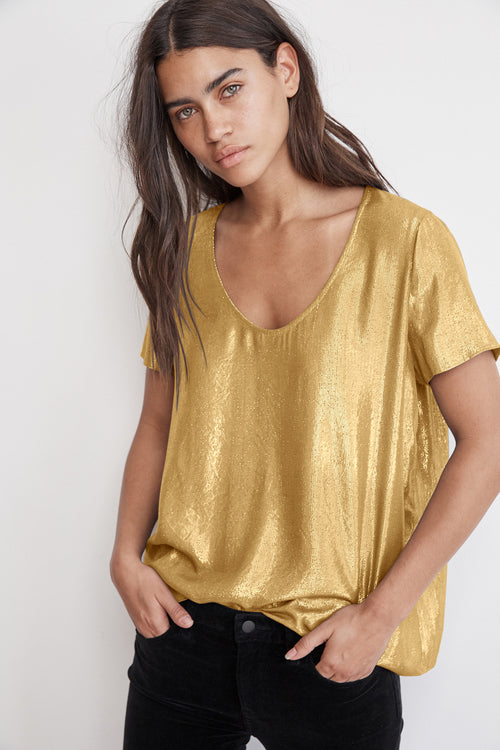 AGATHA SCOOP NECK LAMÉ TOP