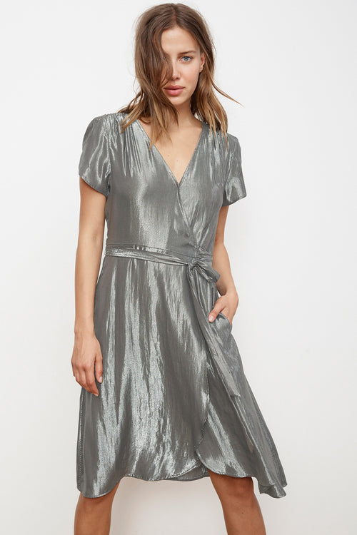 CALINA LAMÉ WRAP DRESS