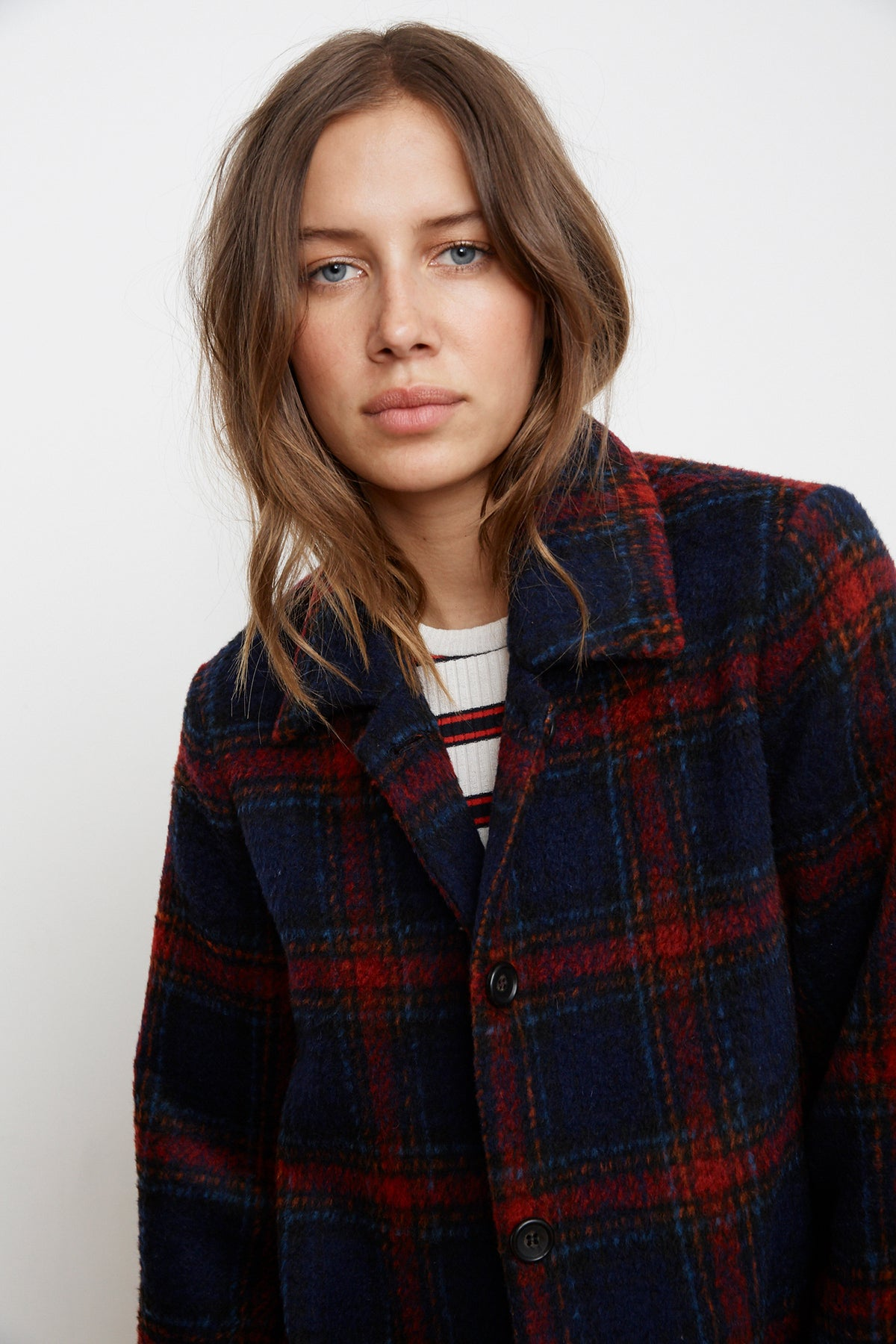 COLETTE WOOL BLEND PLAID JACKET
