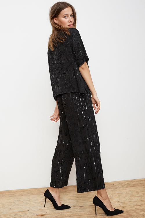 YORI SEQUIN WIDE LEG PANT