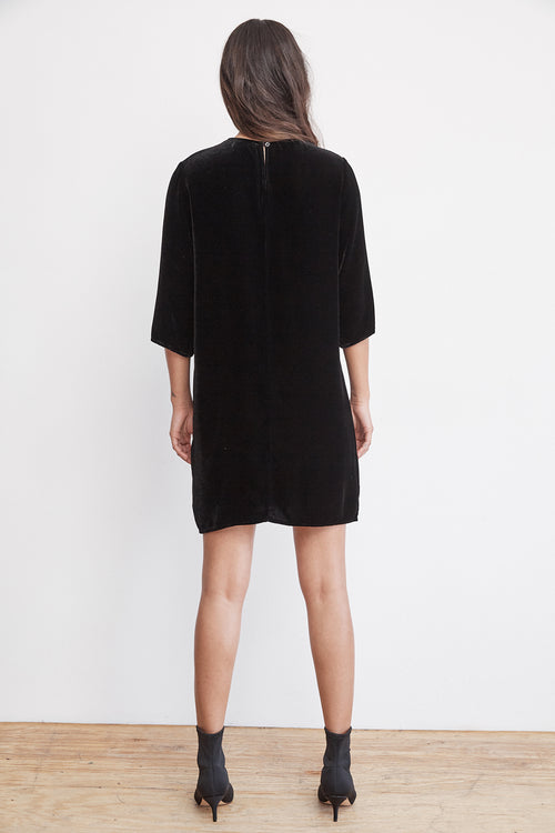 PRUNELLA VELVET CREW NECK DRESS