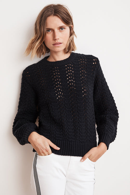 CERSEI LACE STITCH PUFF SLEEVE SWEATER