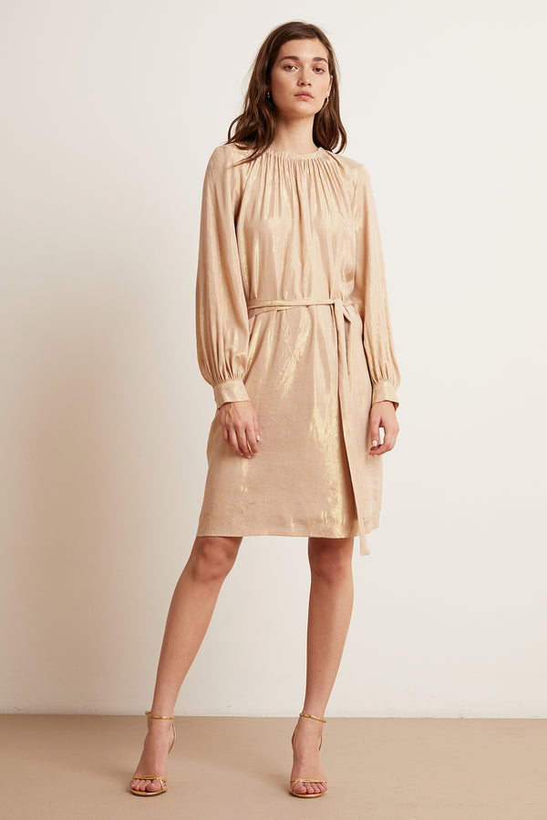 DASHA LAMÉ LONG SLEEVE BELTED DRESS