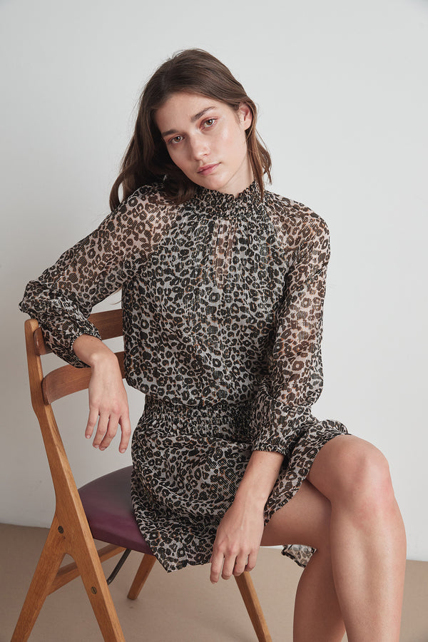 MAGDA LEOPARD LUREX SMOCKED DRESS