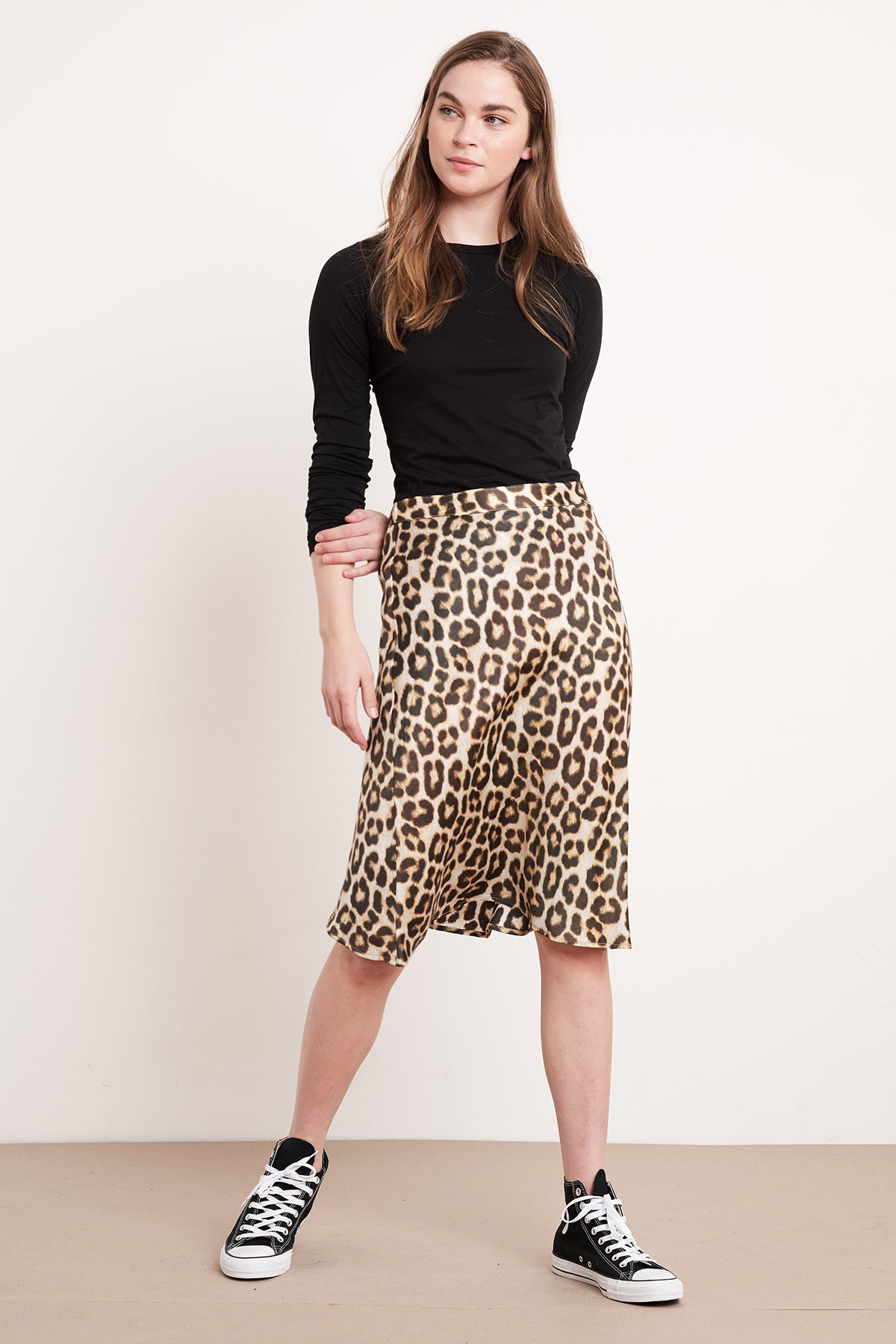 NONNA LEOPARD SATIN VISCOSE SKIRT