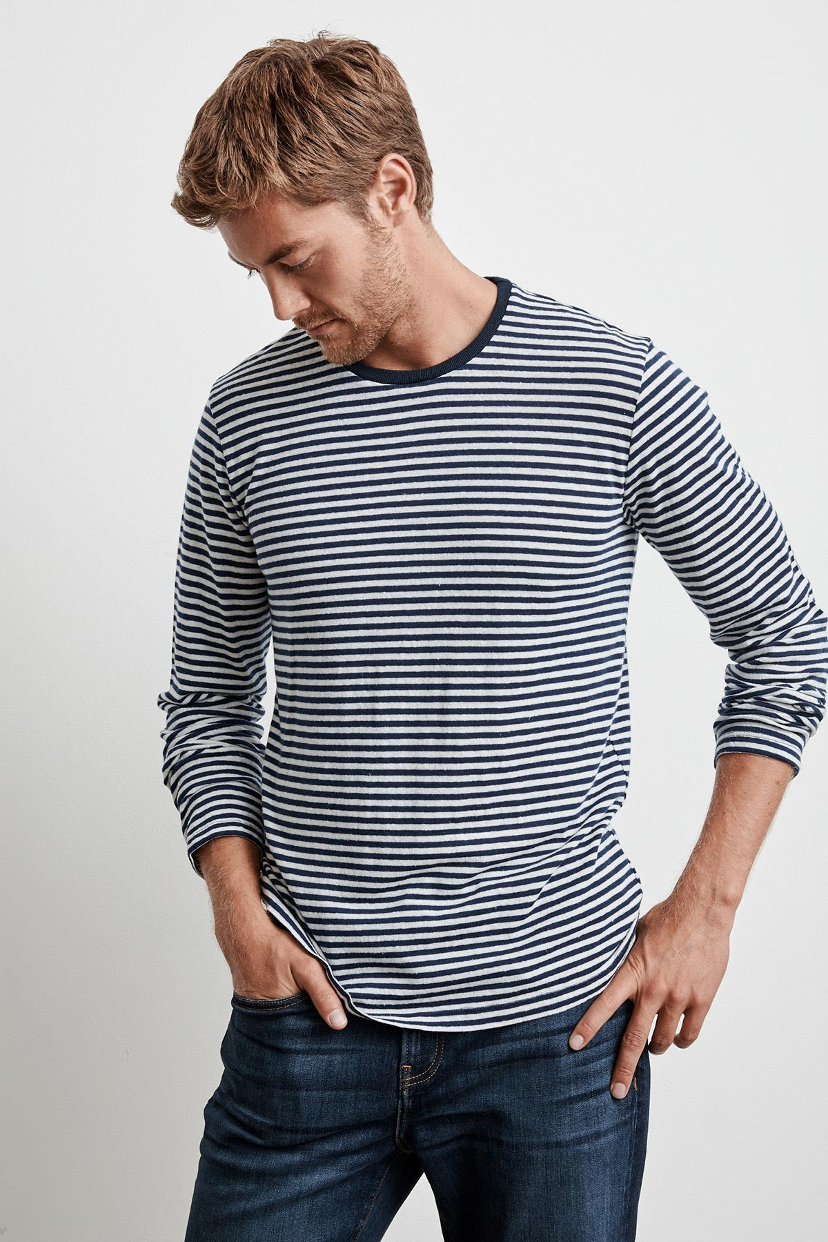 STENTON LINEN STRIPE LONG SLEEVE TEE