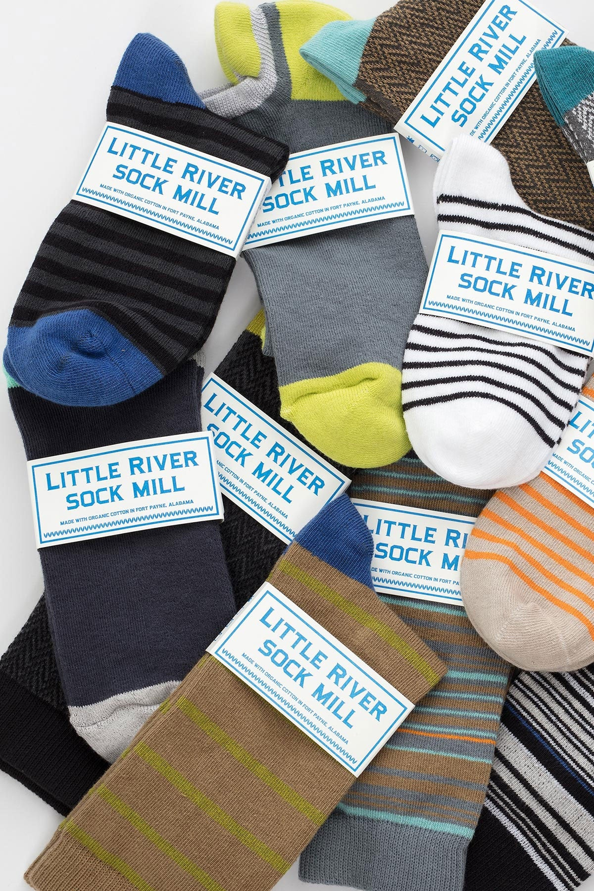 STRIPED SHORT CREW SOCK BY LITTLE RIVER SOCK MILL