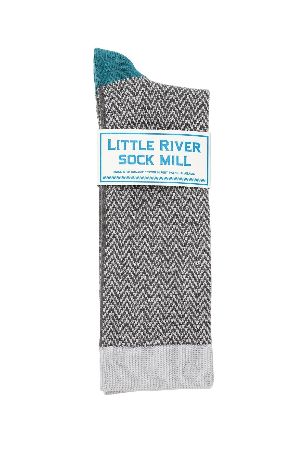 TEXTURED HERRINGBONE CREW SOCK BY LITTLE RIVER SOCK MILL