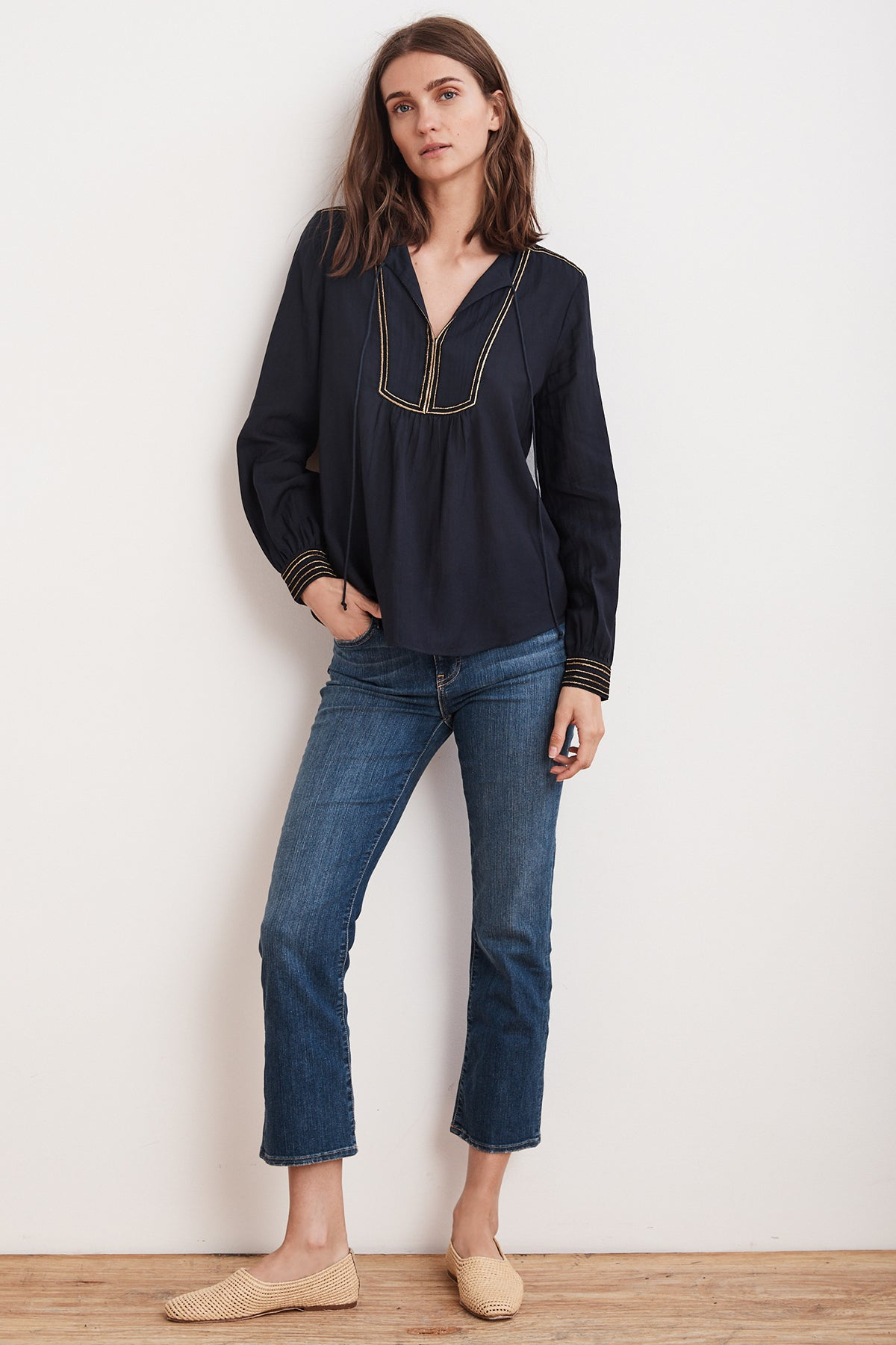 GRACE LUREX EMBROIDERED VISCOSE TIE BLOUSE