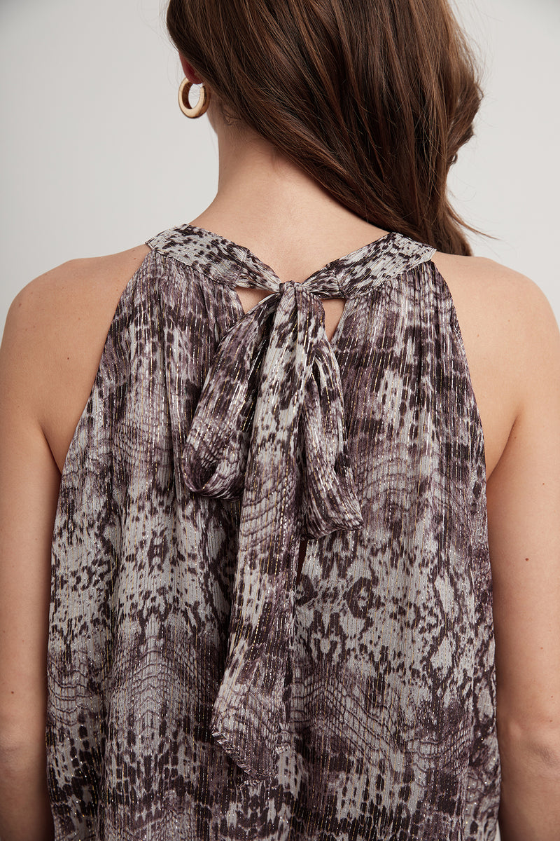 DEBBIE SNAKESKIN LUREX SLEEVELESS TOP