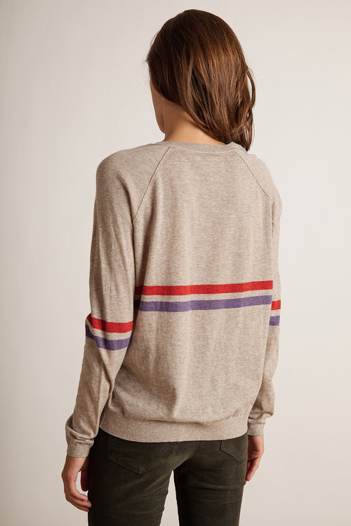 DAYTON LUX COTTON KNIT STRIPE RAGLAN TOP