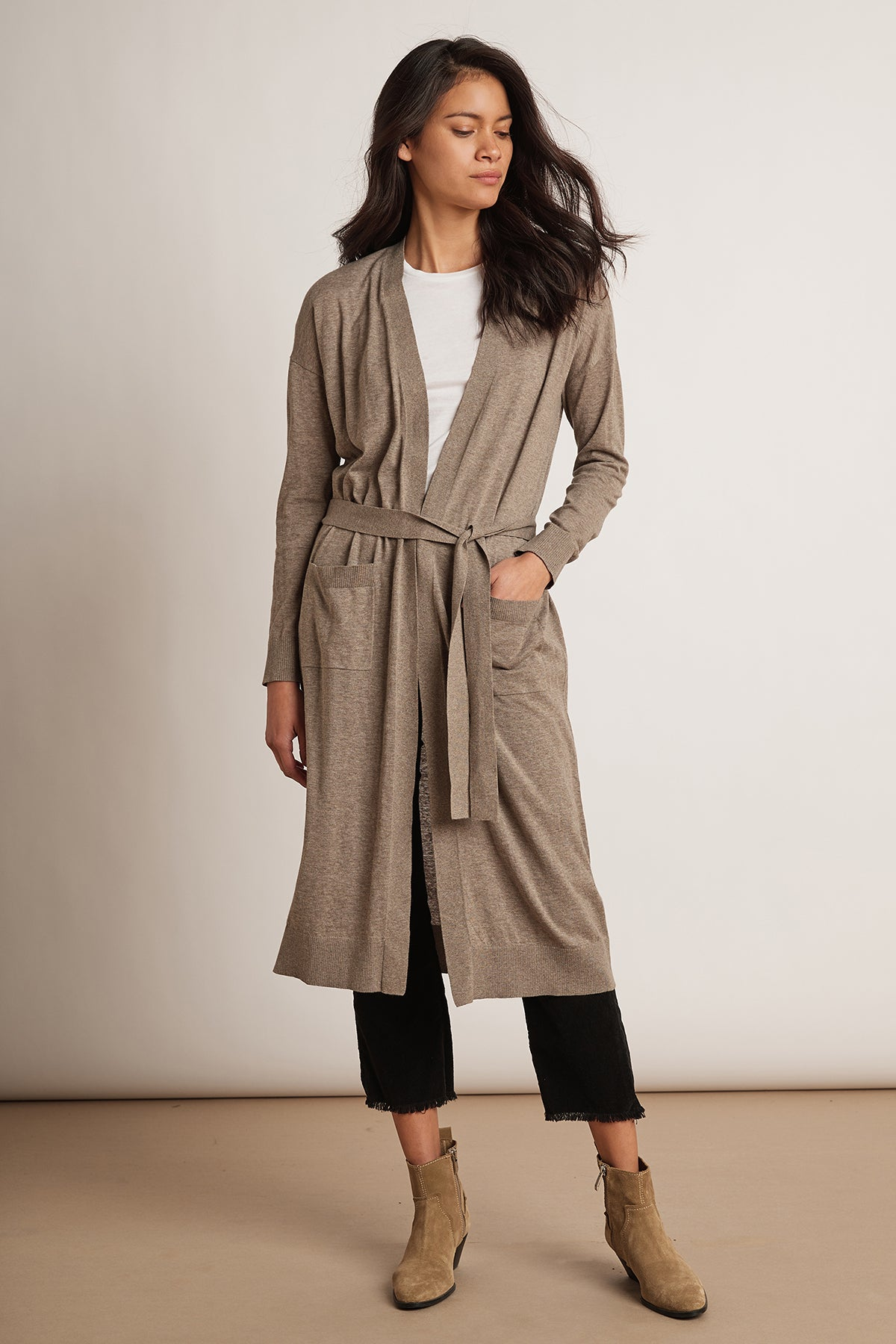 DEB LIGHTWEIGHT LUX COTTON BELTED DUSTER CARDIGAN