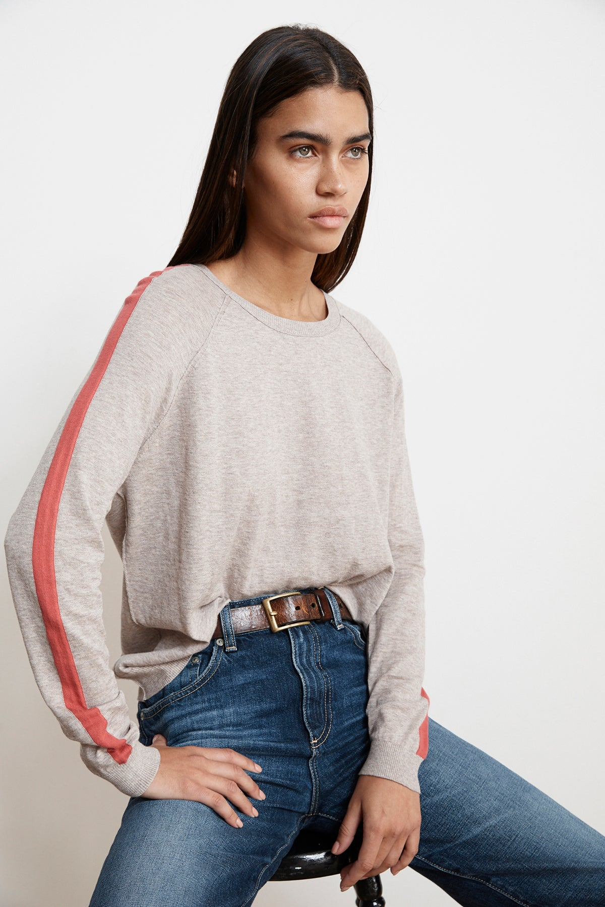 TORIE STRIPE LUX COTTON RAGLAN SWEATER