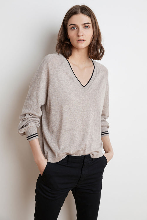 ZANNA LIGHTWEIGHT STRIPE LUX COTTON SWEATER
