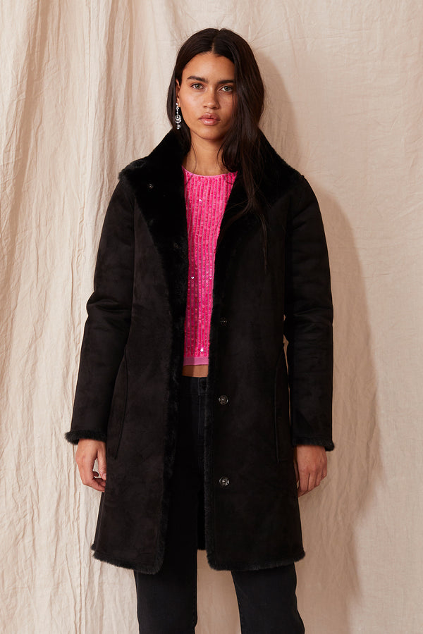 MINA LUX FAUX FUR REVERSIBLE COAT