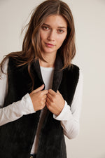 YVETTE REVERSIBLE LUX FAUX FUR OPEN VEST