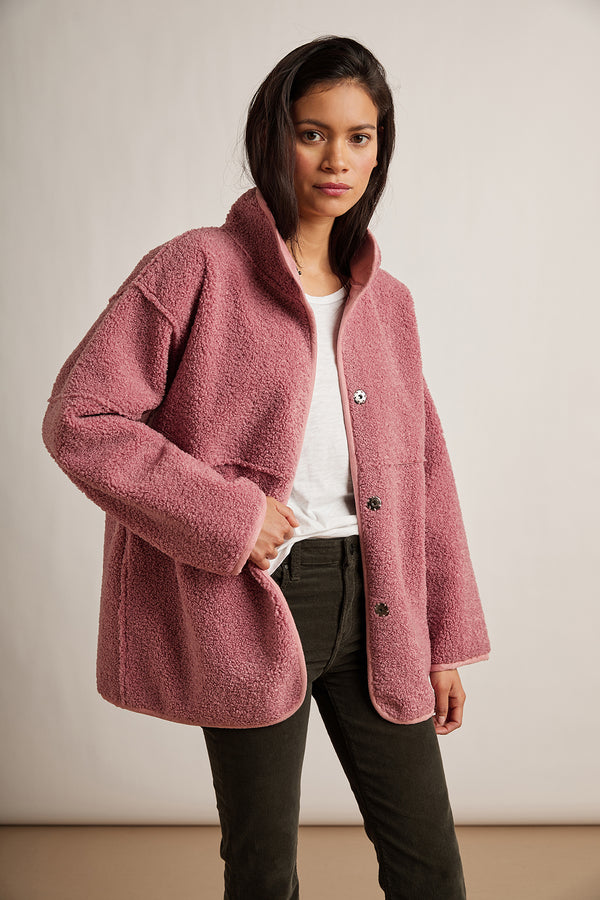 ALBANY REVERSIBLE LUX SHERPA MOCK NECK COAT