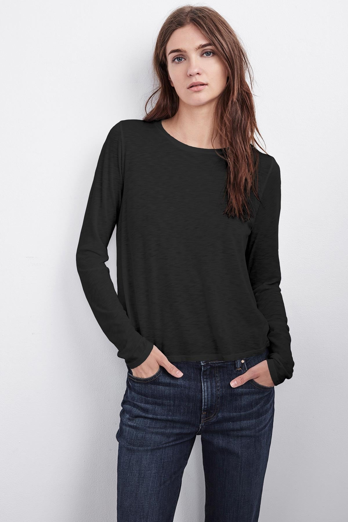 TALULA LUX SLUB LONG SLEEVE SWING TEE