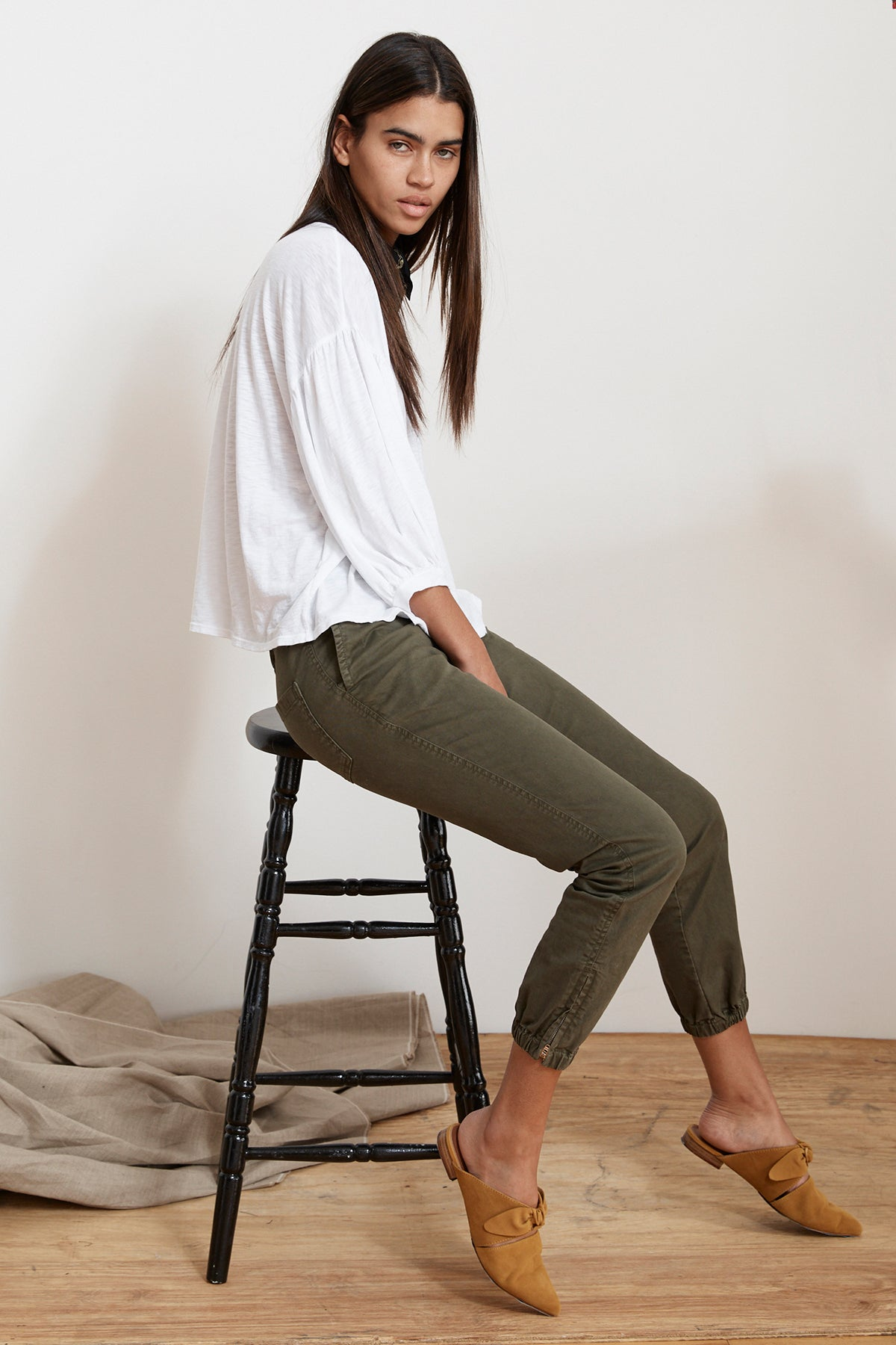 MARGOT COTTON TWILL MILITARY CUFFED PANT