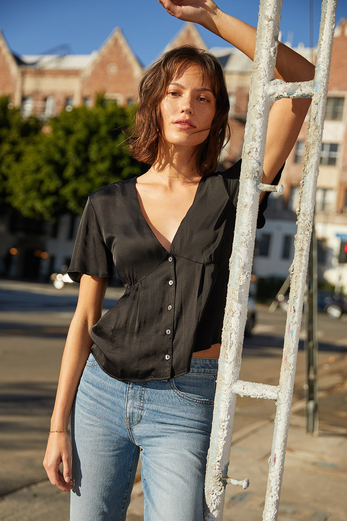 MAISIE SATIN VISCOSE BUTTON-UP BLOUSE