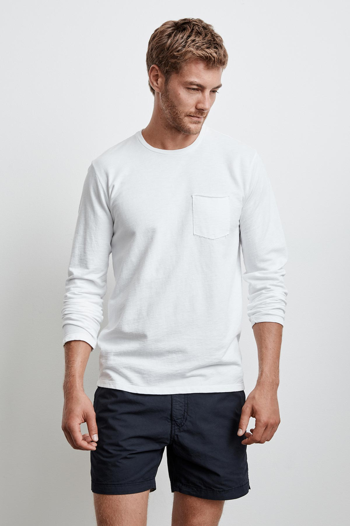 COPPER MICRO TERRY LONG SLEEVE POCKET TEE