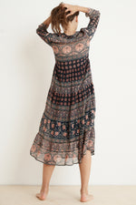 ZENDAYA MONACO PRINT LONG SLEEVE DRESS