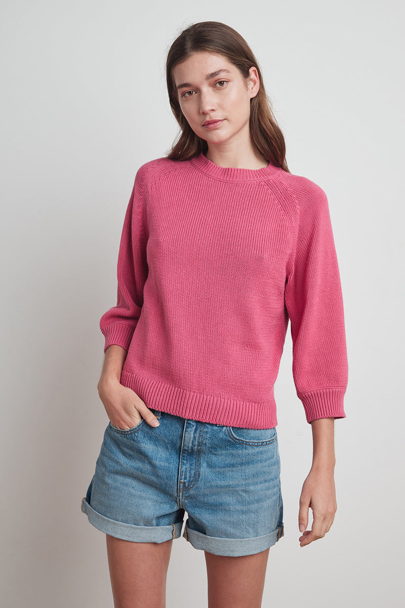 YARA COTTON 3/4 SLEEVE SWEATER